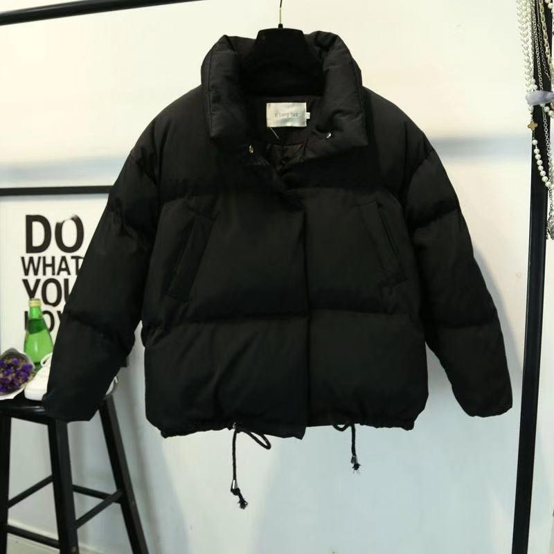 Женская короткая куртка со стоячим воротником, парка на молнии, зимняя куртка, пальто, модная Осенняя однотонная теплая Повседневная парка ...