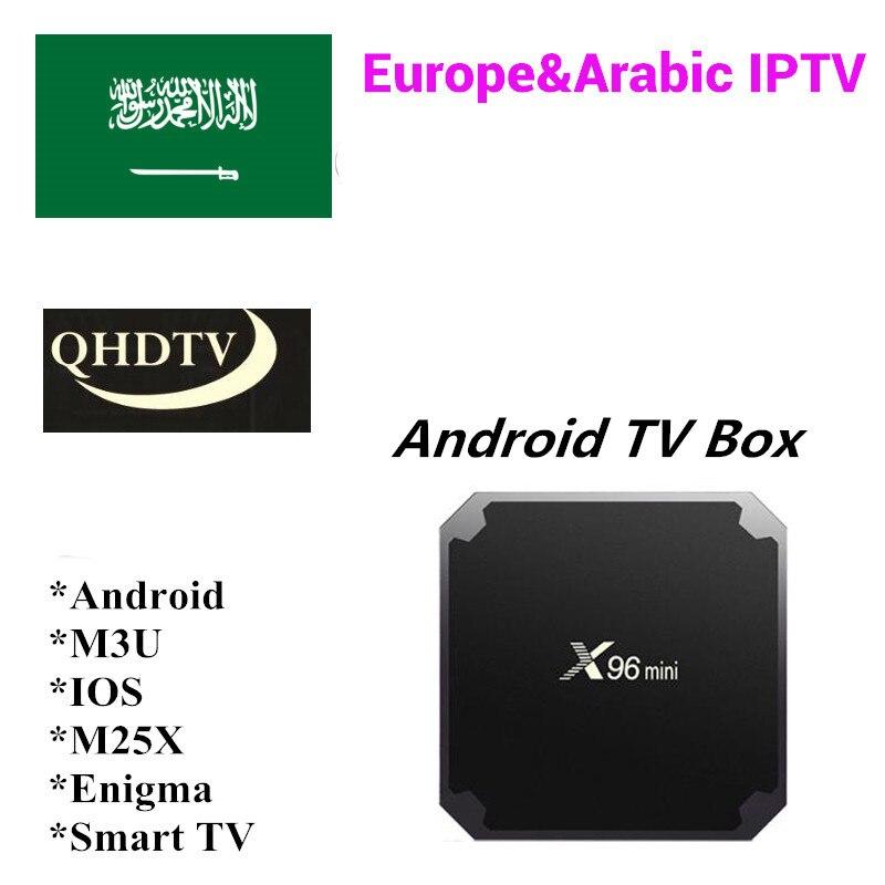 Para 1 año de garantía QHDTV árabe francés Turksih UAE Yeman Líbano Armania Marruecos IPTV código Smart TV Android caja no incluye la aplicación