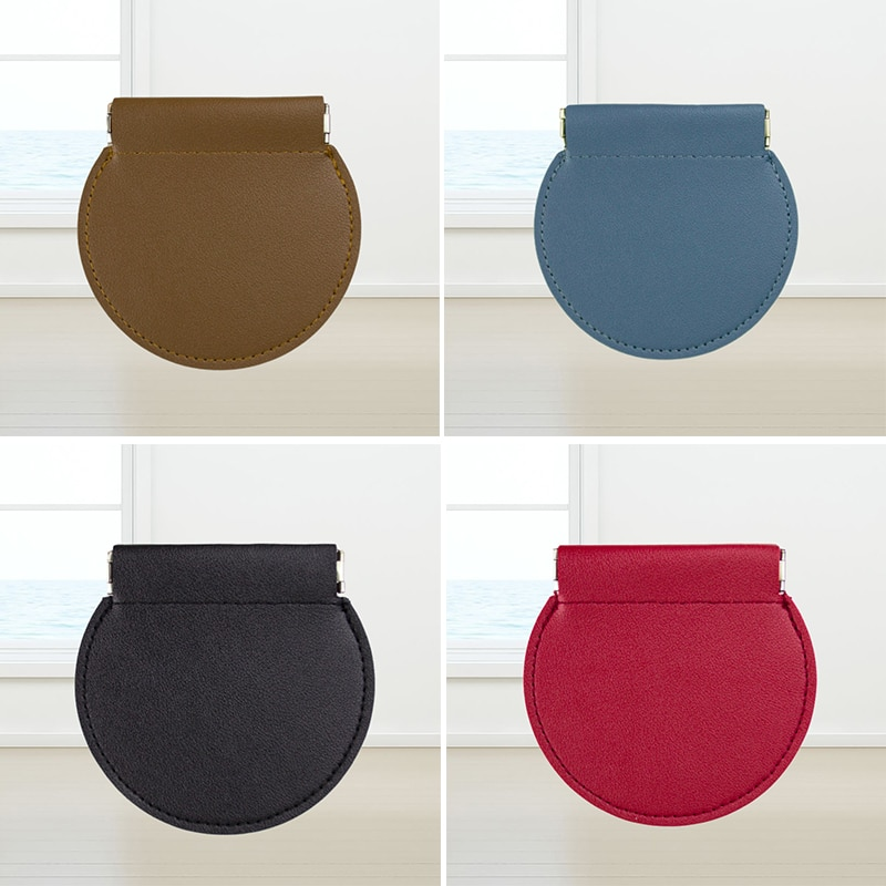 Round Shape Mini Storage Bag Vintage Headset Bag Wallet Key Case Shrapnel Case Card Bag Coin Purse Novelty Coin Purse PU Leather