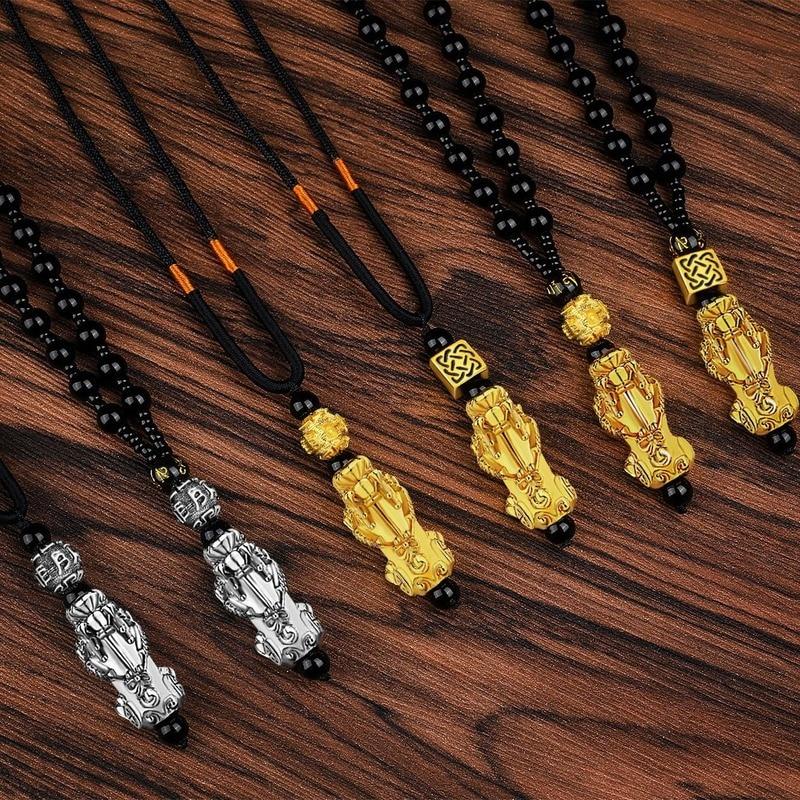 Collar mujeres Vietnam Shajin colgante Pixiu imitación 24K oro collar cuenta de obsidiana cadena Color protección seis caracteres