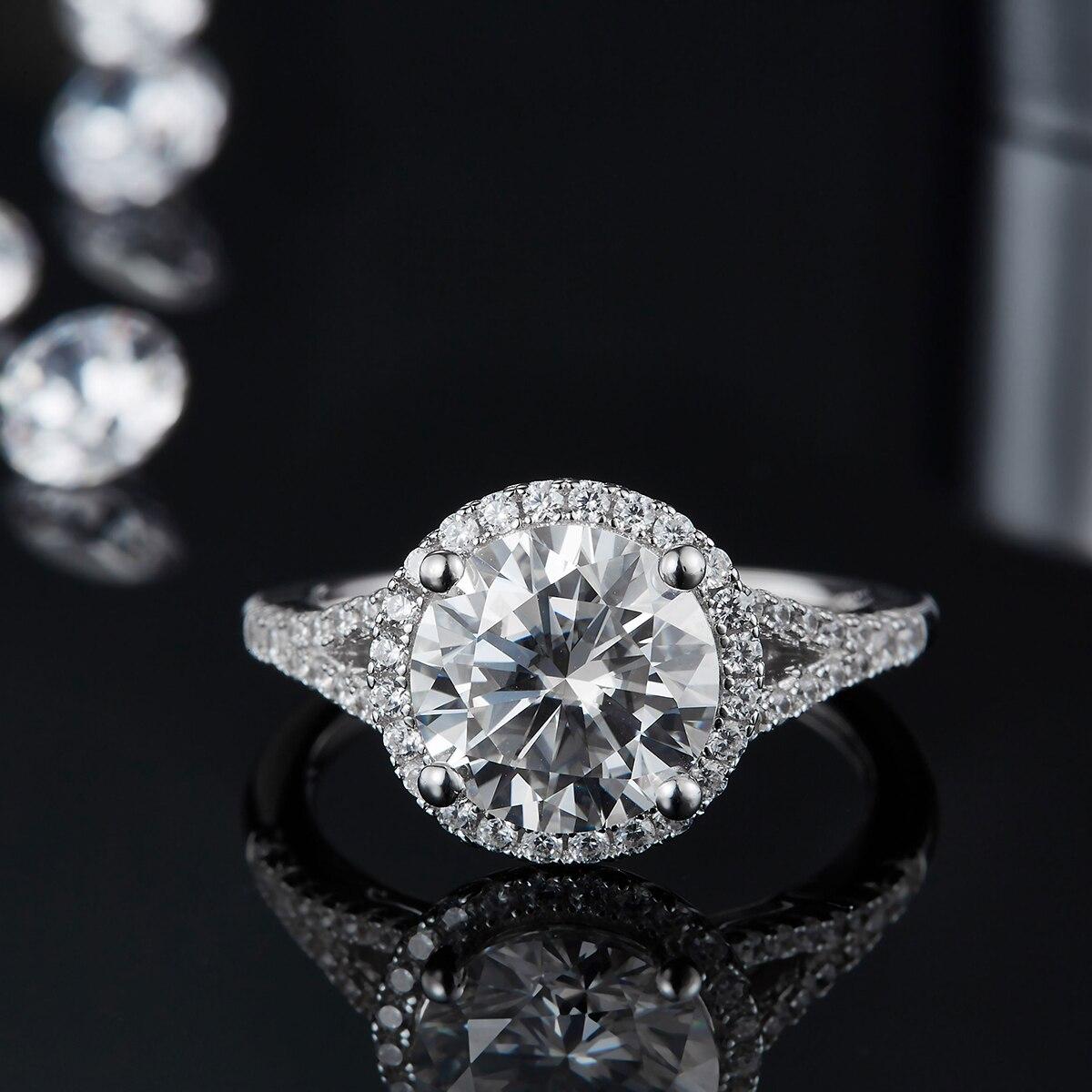 BOEYCJR 925 هالو 1.5ct/2ct/3ct F اللون مويسانيتي VVS خاتم الخطوبة الماس الزفاف مع شهادة وطنية للنساء
