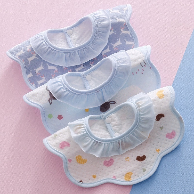 Baby Cotton Waterproof Saliva Towel Children's 360-degree Rotating Eating Bib Newborn Cute Cartoon Small Bib 3 Pieces 1 Lot BC01