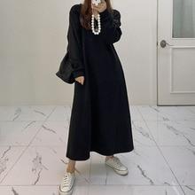 2021 Autumn Winter Women Dress Korean Fashion Solid Color Casual V-neck Long Sleeve Loose Simplicity