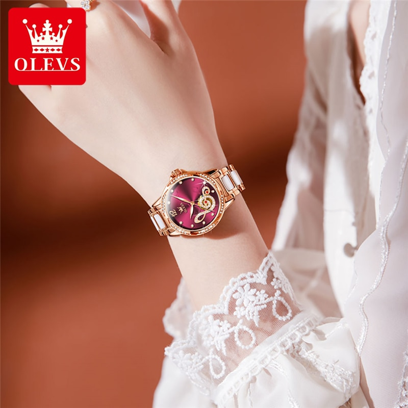 OLEVS Women Musical Note Mechanical Watch Rose Gold Stainless Steel Ceramics Strap Dress Watches Fashion Women's Automatic Watch enlarge