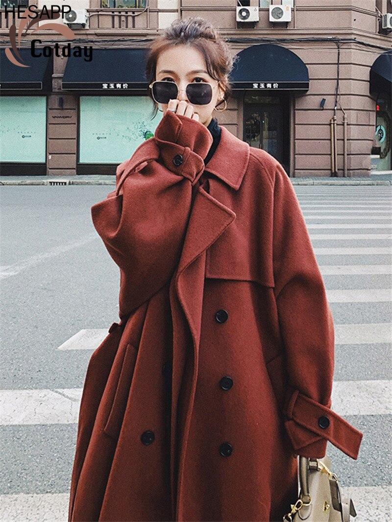 HESAPP-abrigo elegante de mezcla de lana para mujer, ropa de estilo británico,...