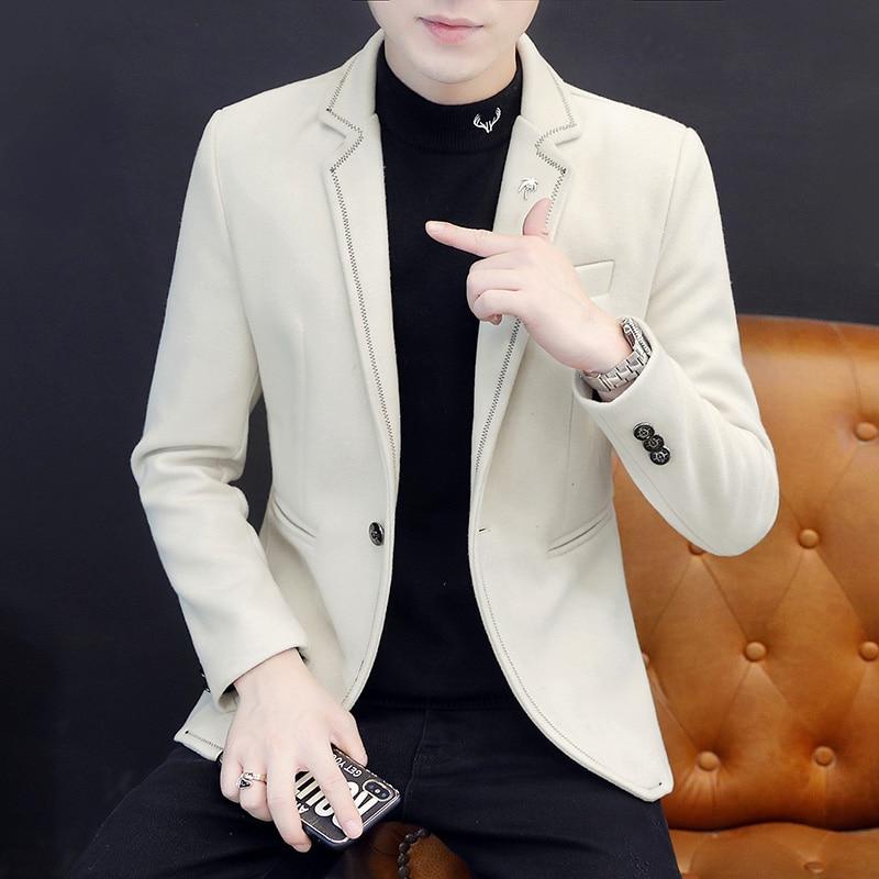 Moda coreana para hombres chaqueta informal suelto y delgado de manga larga...