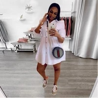 coffeehot spring and fall best selling casual dress mini dress women ruffle sleeve shirt collar solid color long sleeve dress