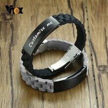 Vnox 16mm kişiselleştirin silikon bilezikler erkekler için paslanmaz çelik etiket özel adı tarih ayarlanabilir uzunluk erkek bileklik erkekler için hediye