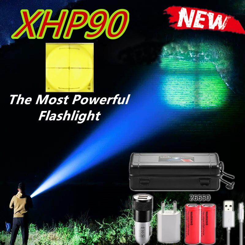Dropshipping xhp90 chegam novas mais poderosas lanterna led usb zoom tocha 18650 26650 bateria recarregável vs xhp70.2 lanterna