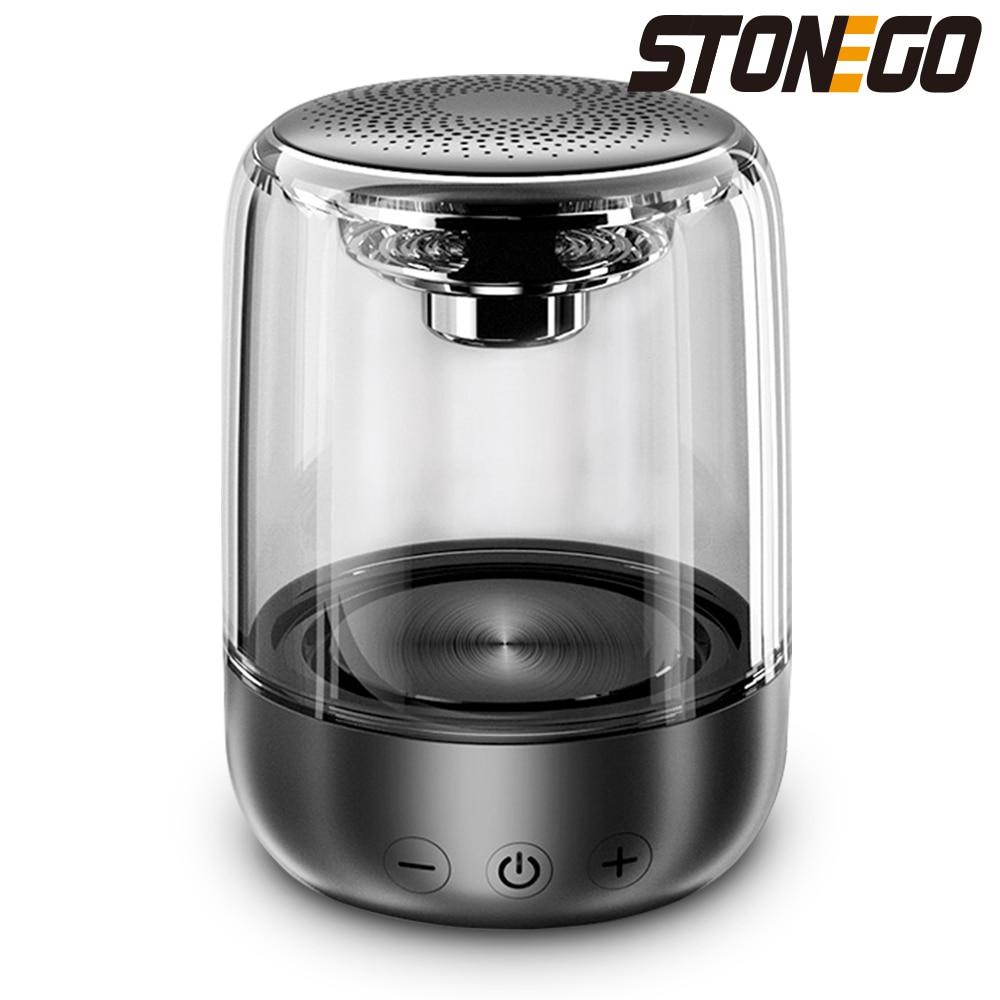 STOENGO-مكبر صوت استريو لاسلكي حقيقي ، تصميم شفاف ، مصباح LED مسامي ، TWS Bluetooth 5.0 ، بطاقة TF ومدخل صوت AUX