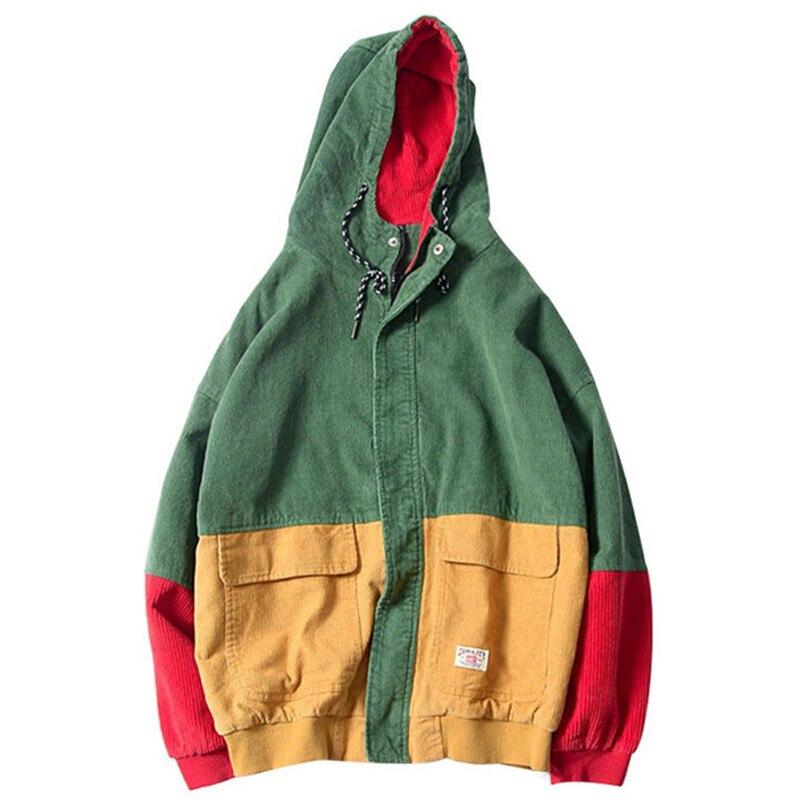 2020 Новая мода пэчворк Вельветовая куртка с капюшоном мужская хип-хоп куртка с капюшоном на молнии мужская повседневная куртка