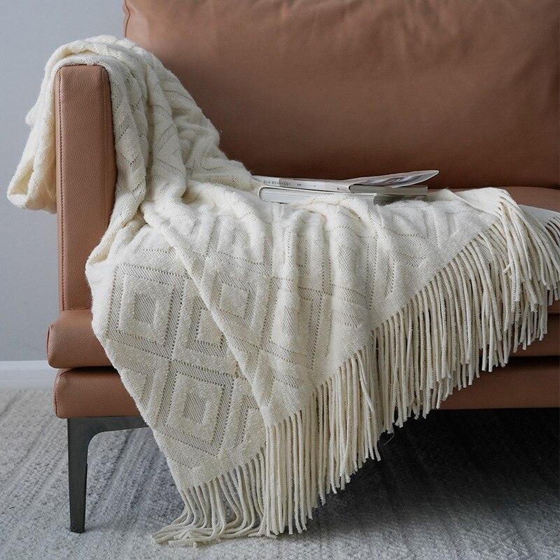 بطانية صوف منسوجة بلون سادة ، منقوشة للقيلولة ، لحاف صيفي ، سرير مكيف الهواء