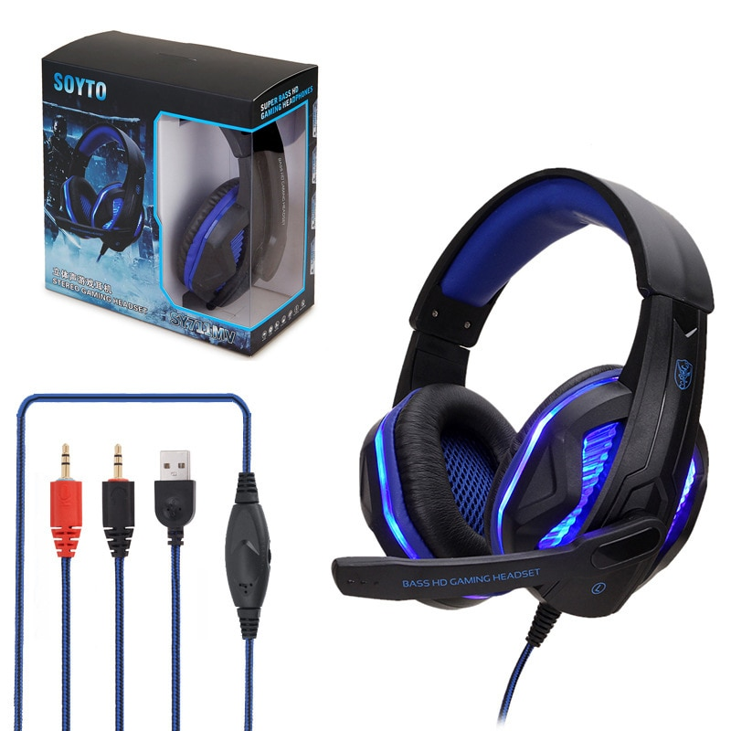Gaming Headset Deep Bass Stereo Game Headphone With Microphone LED Light For PS4 Phone Laptop PC Gamer For Laptop Computer
