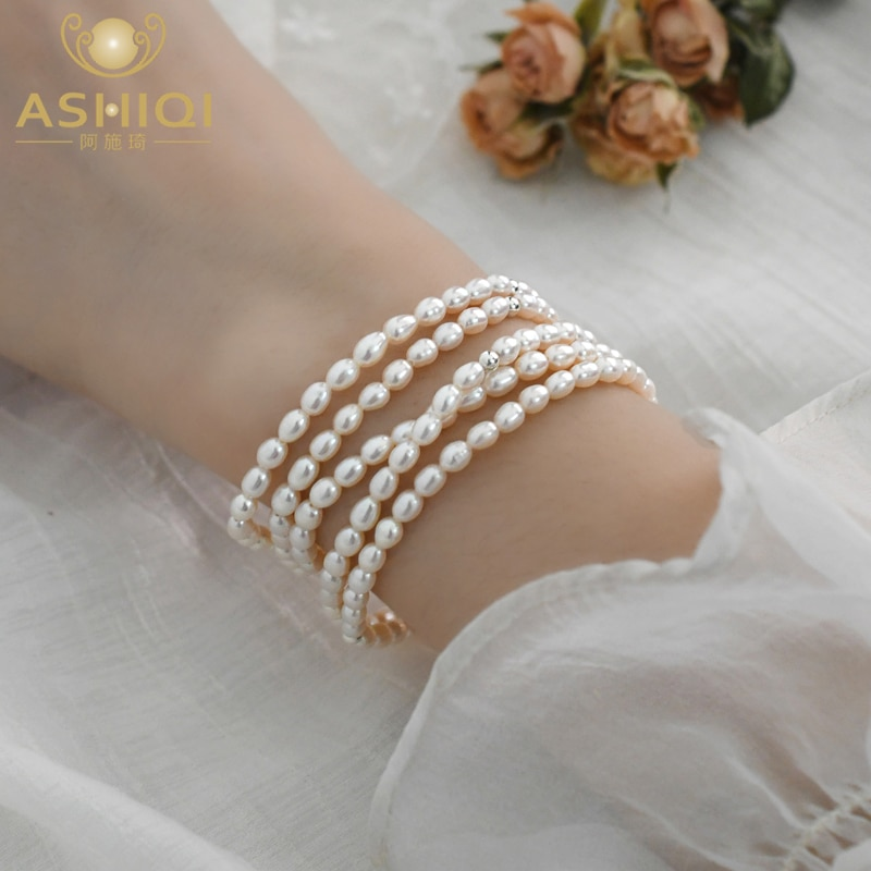 ASHIQI 3-4mm Real natural freshwater pearl elastic bracelet 925 silver bead jewelry for women Valentines Day Jewelry Gift natural freshwater exquisite pearl bracelet women jewelry white pearl charms bracelet 925 silver jewelry wedding gift