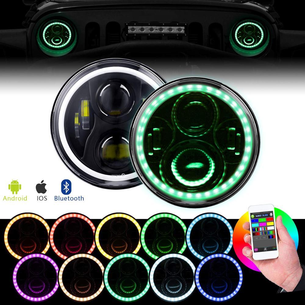 Faros delanteros LED WINING 2 uds. Halo de 7 pulgadas para Jeep Wrangler JK Rgb, faros delanteros Bluetooth, Control por aplicación de teléfono para Jeep TJ CJ, accesorios