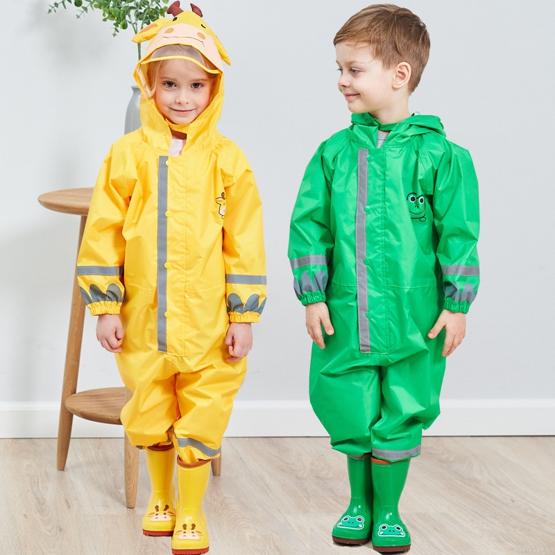 New Arrival Kids Waterproof Coat Reflective Stripe Sonw Rain Wear Boys Girls Children Animal Pattern