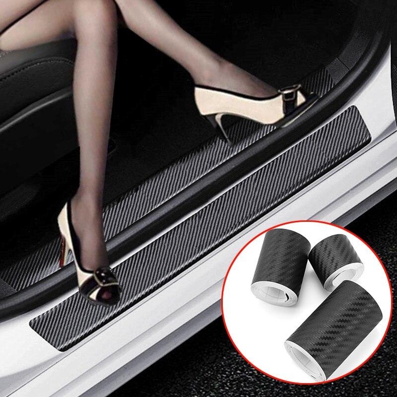 Автомобильная наклейка из нано-углеродного волокна, защитная полоса «сделай сам» для наклейки на порог автомобиля, боковое зеркало, лента против царапин, водонепроницаемая защитная пленка