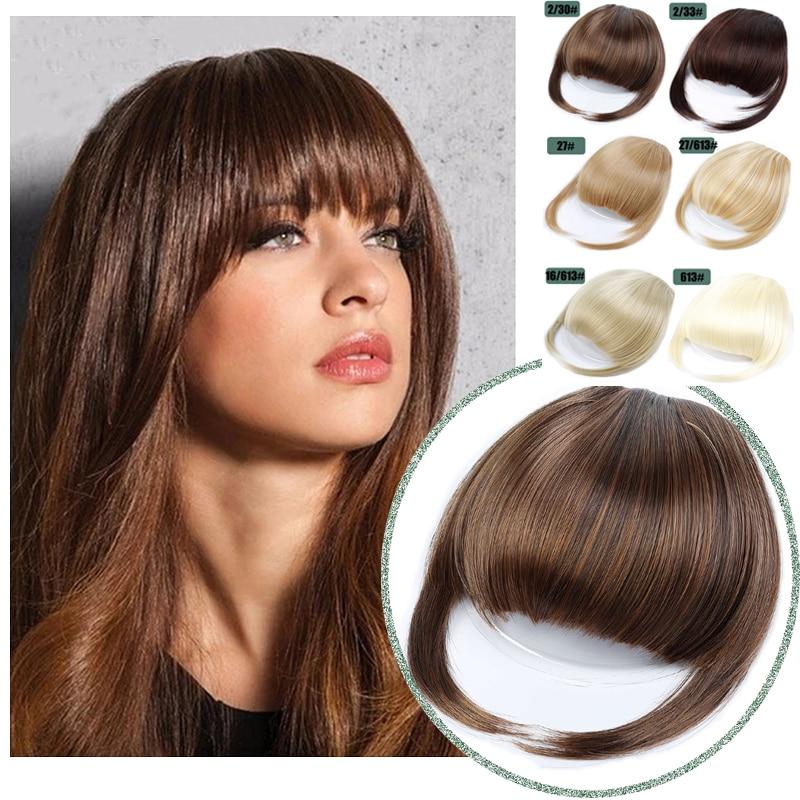 Synthetic Fake Bang Hair Piece Clip In Hair Extension Fake Fringes Bang Women Natural Air Bangs Clip