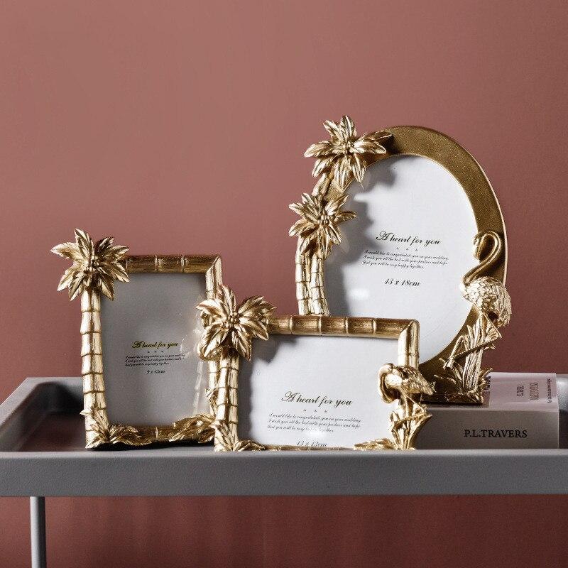 Resina dos desenhos animados moldura de ouro flamingo árvore oval quadrado quadros de fotos quarto escritório em casa decoração cartaz quadro