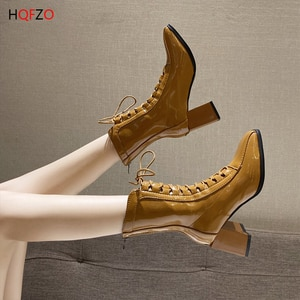 HQFZO Fashion Women Ankle Boots Cross-tied PU Leather Chelsea Boots Zip Chunky Heels Women Autumn Bootines 2020