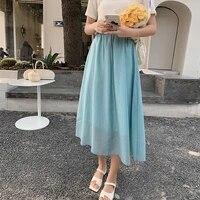 fashion 2021 kawaii summer women skirts high waist cute solid sweet girls pleated skirt blue mid calf oversize skirts for women