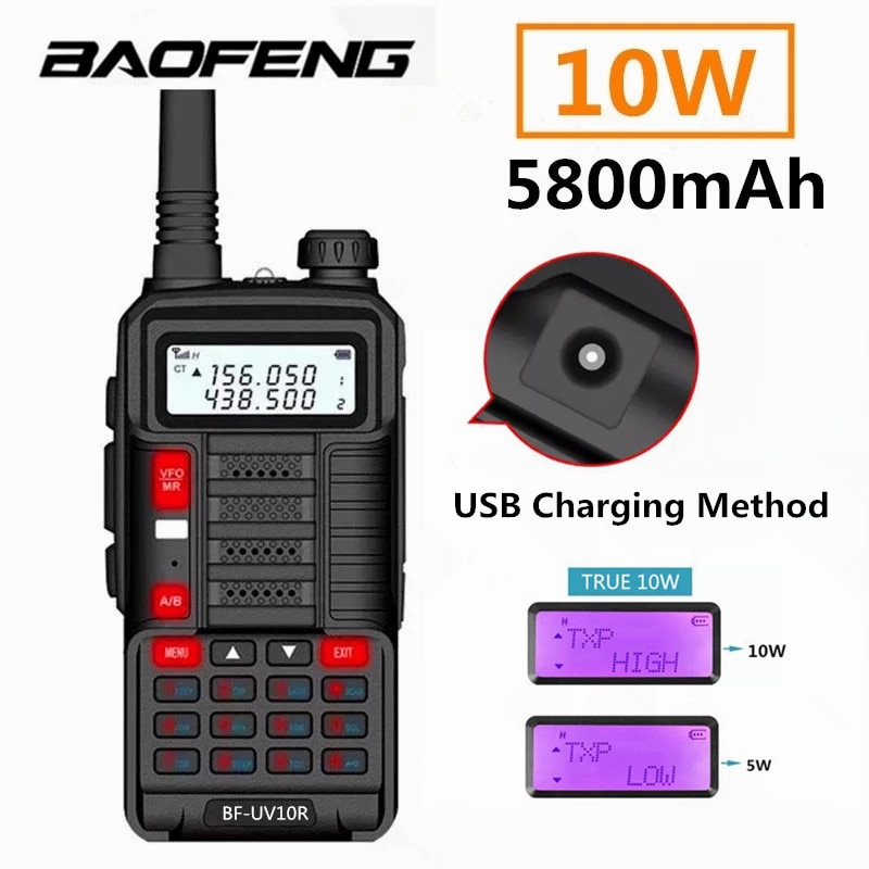 Baofeng UV10RBaoFeng 10 واط UV10R لاسلكي تخاطب الارسال طويلة المدى UV-10R ثنائي النطاق اتجاهين راديو 128CH VHF UHF 136-174 ميجا هرتز 400-
