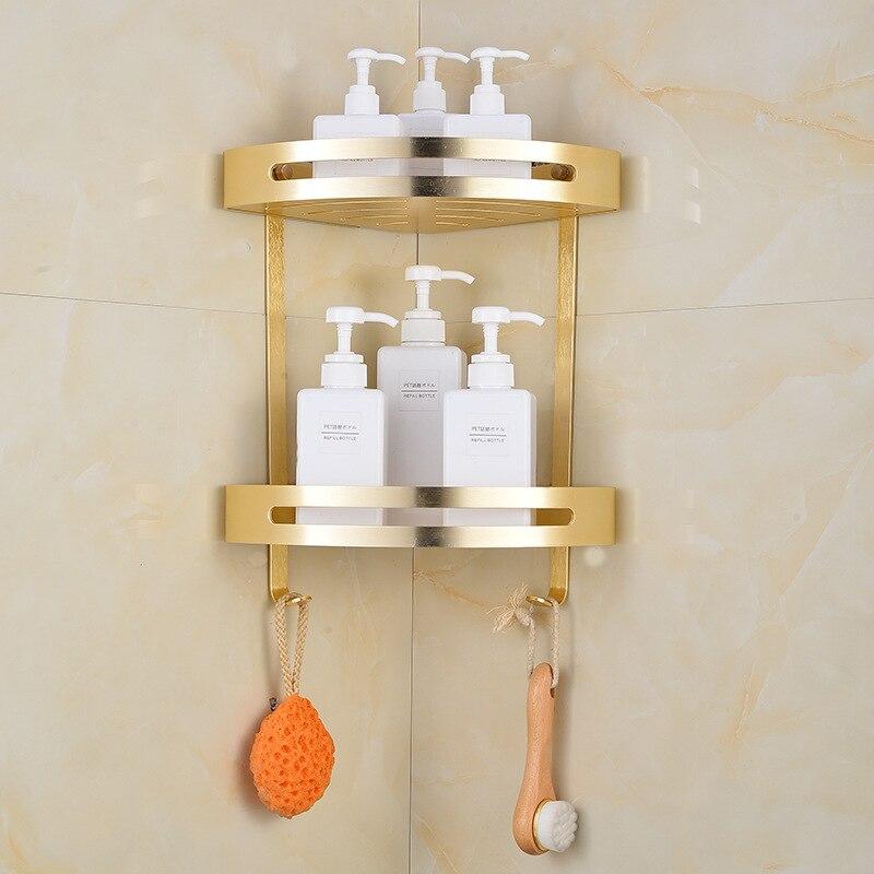 Aluminum Gold Corner Basket Bathroom Products Shampoo Holder Shower Caddy Sheves Bath Accessories Cosmetic Storage Racks