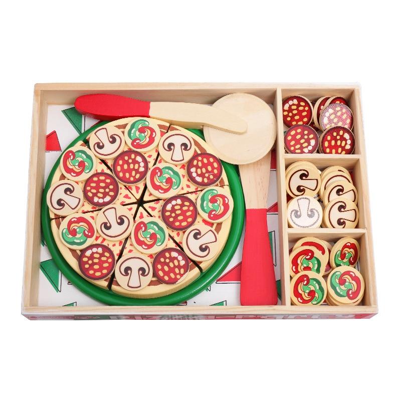 Пицца деревянные игрушки для приготовления пищи моделирование посуда для детей игрушки для кухни, игровой домик игрушки Фрукты Столовые пр...