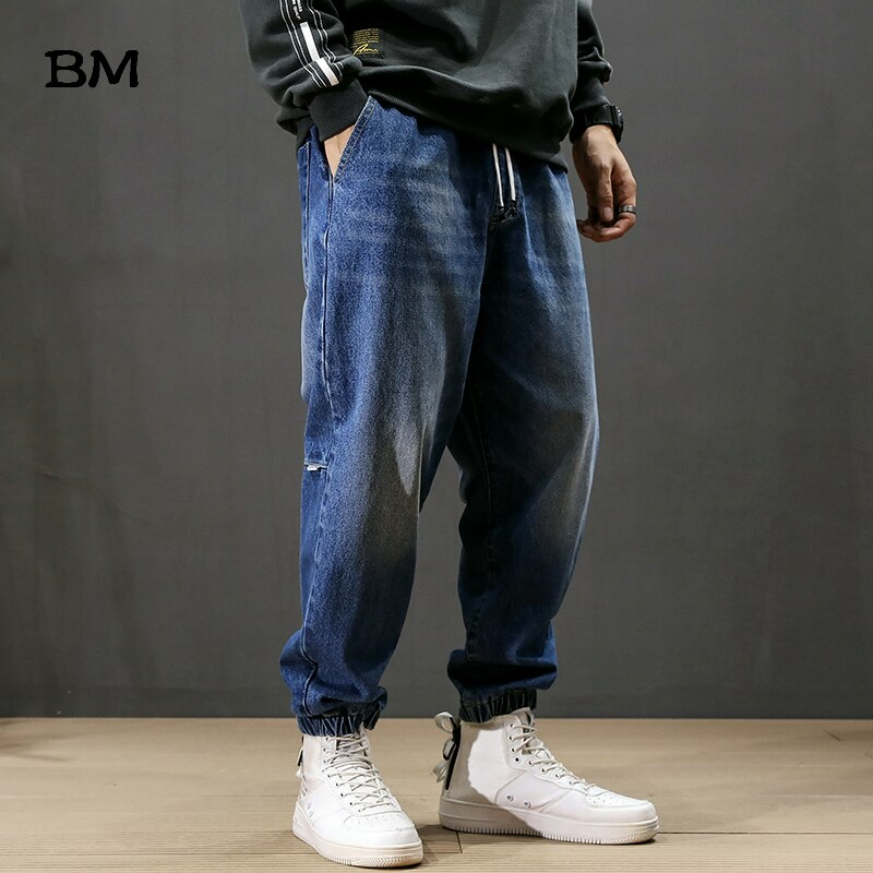 2020 Fashion Streetwear Men Jeans Loose Fit Retro Blue Harem Pants Men Slack Bottom Vintage Designer Hip Hop Joggers Jeans Male