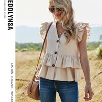 sweet kawaii girl blouse v neck solid color casual single breasted shirt summer sleeveless womens tops ruffles swing blouse y90