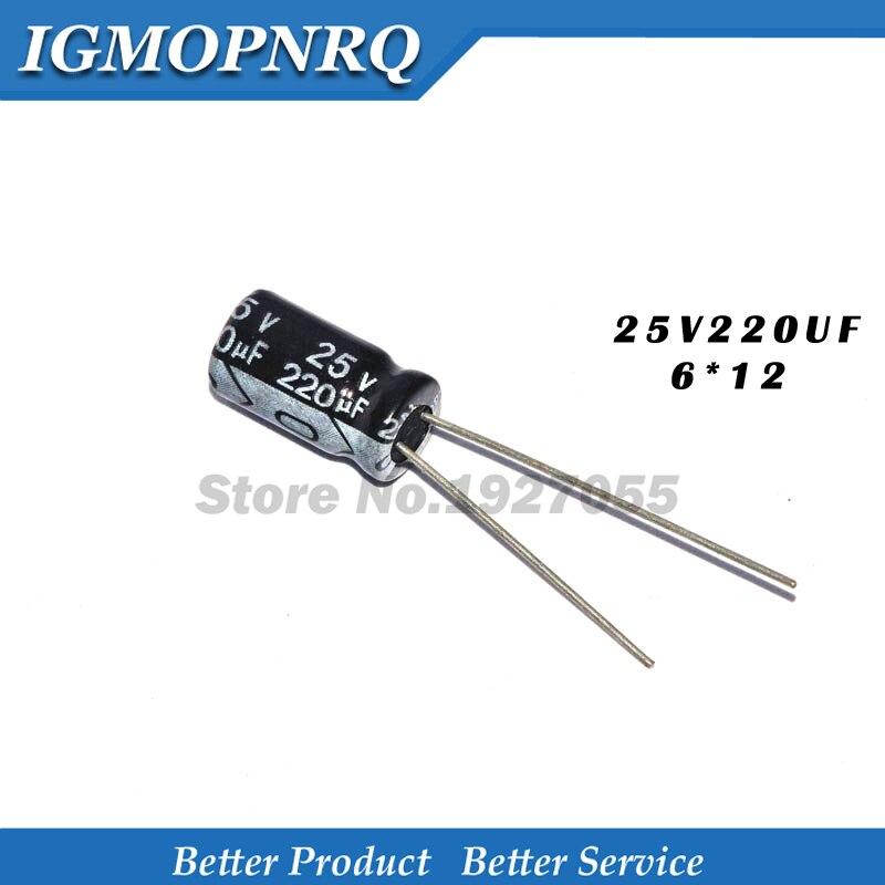 20 pces 25v220uf 6*12mm 220 uf 25 v 6*12 capacitor eletrolítico novo