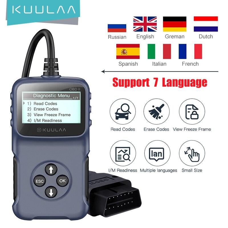 Автомобильный диагностический инструмент KUULAA OBD2 V309 считывает кодовые карты считывает код неисправности автомобиля, стирает код неисправн...