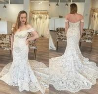 luxury custom made dubai arabic mermaid wedding dresses plus size off the shoulder court train lace wedding dress bridal gowns