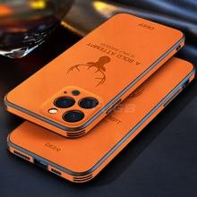 Luxury Leather Texture Case สำหรับ iPhone 13 12 11 Pro Max Mini X XR XS 13pro กวาง Deer สแควร์กรอบกล้องป้องกัน