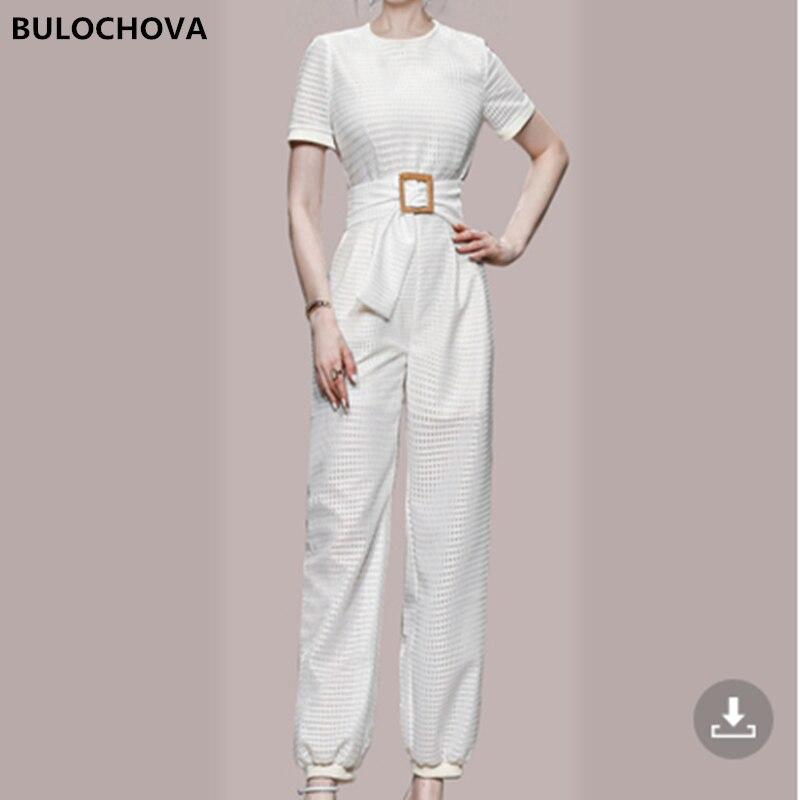 BULOCHOVA جمبسوت نسائي سادة أنيق بسيط ملابس 2021 أحدث تصميم للسيدات بخصر عالٍ مقاس كبير ثوب فضفاض مستقيم XL