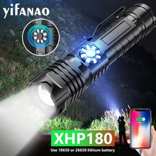 Powerful Stepless Dimming LED Flashlight XHP180 5000mAH USB Rechargeable Work Light 5Modes Zoom Torch Tactial Flashlight 18650