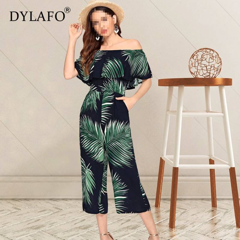 Women Summer Leaf Print Jumpsuit Off Shoulder Wide Leg Streetwear Rompers Sexy Night Club Party Elegant Casual Overalls women sexy v neck jumpsuit casual wide leg stripe overalls off shoulder backless playsuit