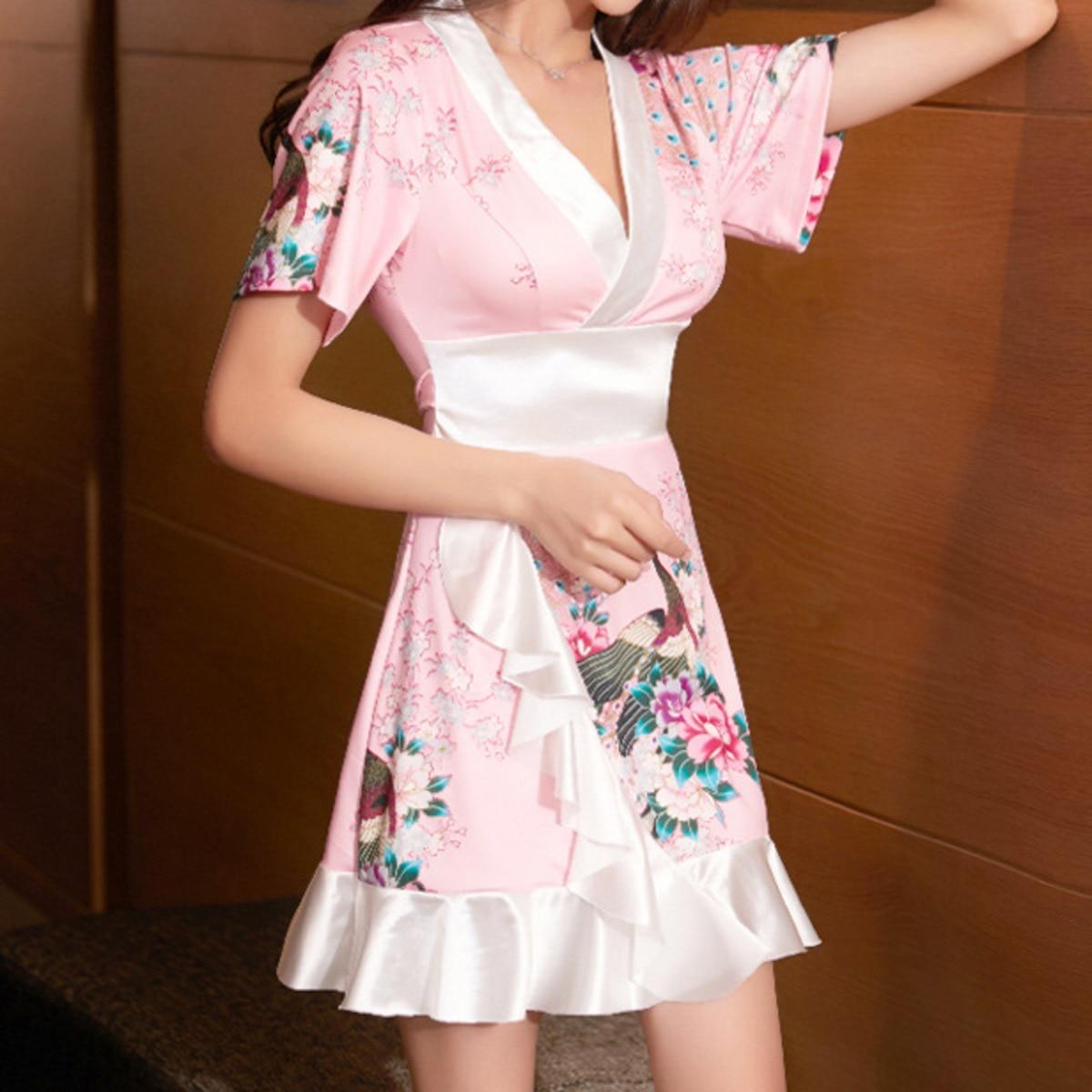 BacklakeGirls 2021 Women Vintage Floral Print Casual Mini Shirt Dress Female Chic Short Sleeve Ruffles Hem Wrap Kimono Vestidos
