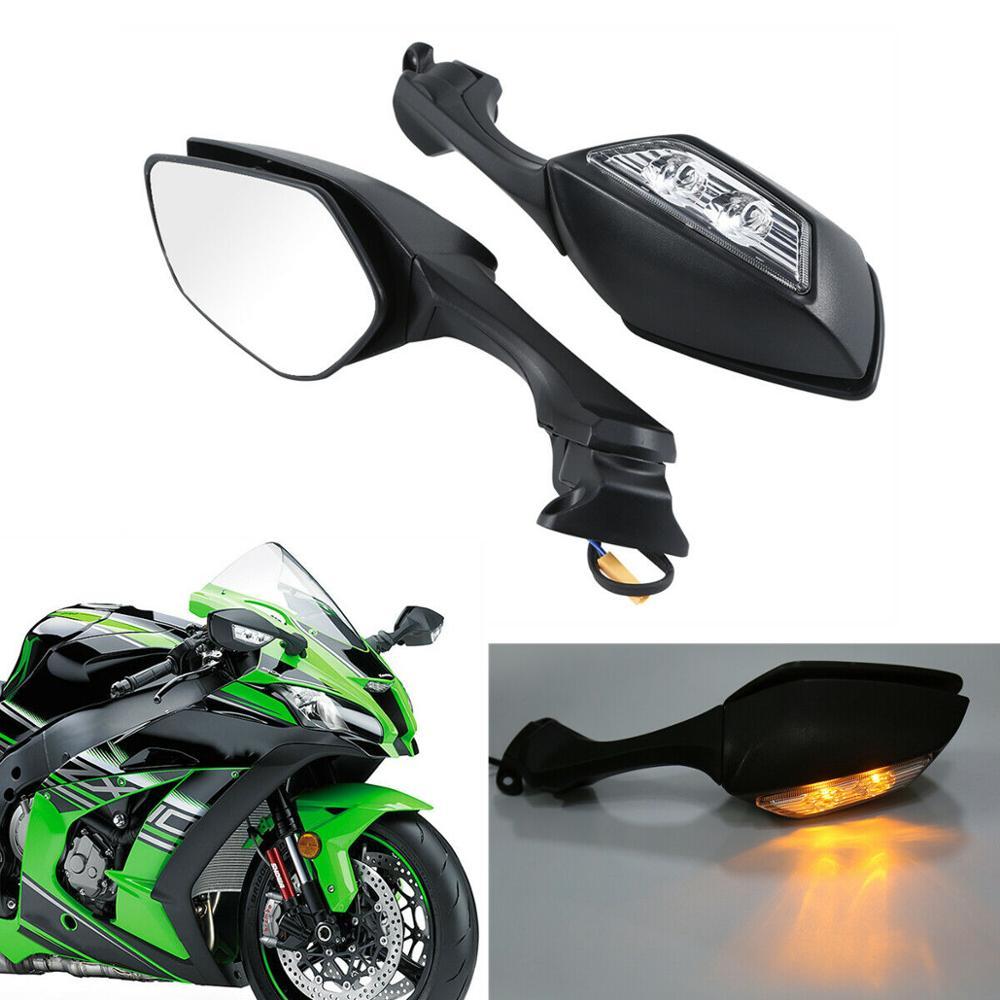 Motocycle ABS Rear View Mirrors LED Turn Signal For Kawasaki Ninja ZX10R ZX-10R 2016-2019 2018