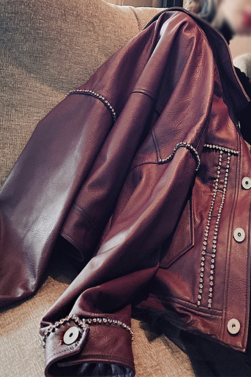 Jacket Single Breasted Hot Sale Women Jaqueta Couro Feminina Woman Motorcycle Pu Rhinestone 2020 New Loose Sleeve Casual Full enlarge