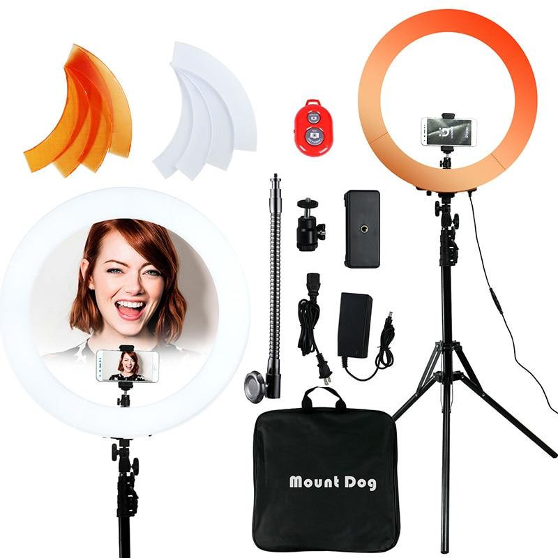 Anillo de luz LED de 18 pulgadas con trípode de 200CM, anillo de luz para Selfie, para maquillaje, YouTube, regulable para estudio de vídeo y fotografía, luz para RU