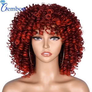 Short Synthetic Wigs Afro Kinky Curly Wigs With Bangs for African Women Daily use Black Natural Afro Heat Resistant GEMBON