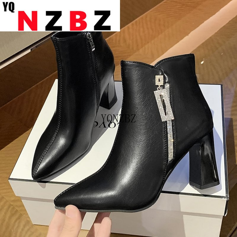 Winter Boot for Women 2021 Fashion Women High Heels Boots Sexy New Women Ankle Boots Warm Plush Squa