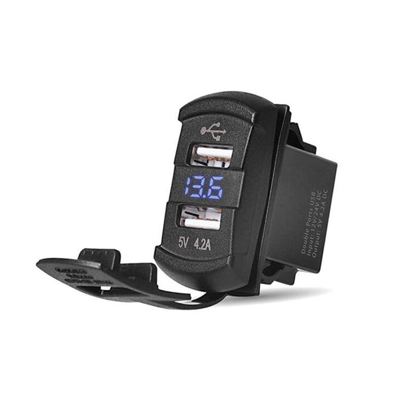 12v Dual Usb Port Car Charger Socket Plug LED Display For IPhone IPad Pro Samsung S6 Edge Motorcycle Car Usb Charger Socket