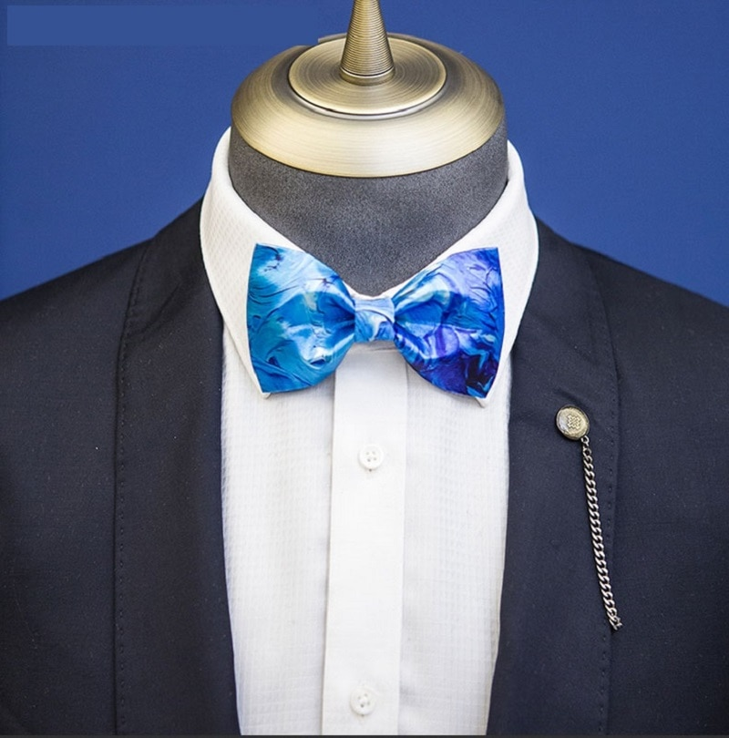 High Quality 2020 Men Bow Tie Handmade Blue Fantasy Starry Sky Print Bowties Butterfly Designers Brand Wedding Bow Ties for Men