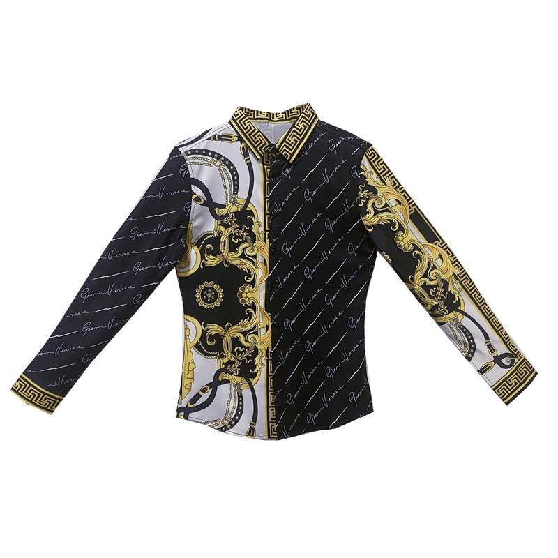 Autumn Mens Vintage Printed Long Sleeve Shirt New