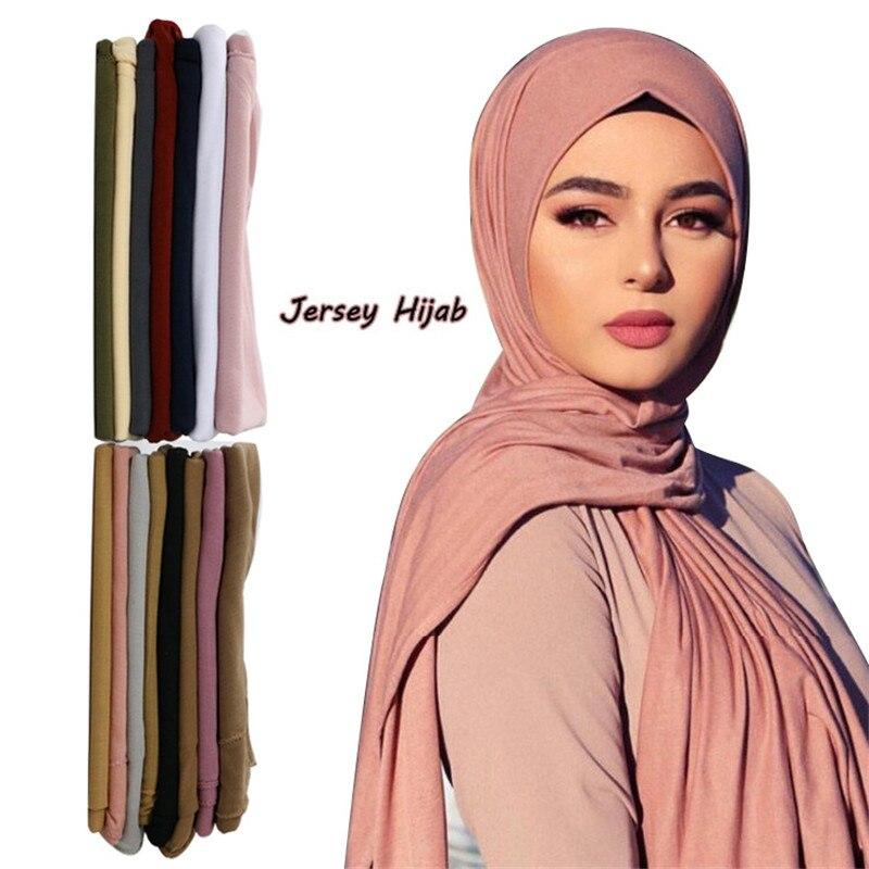 ¡Novedad de 2020! hijab musulmán, bufanda de punto para mujer, chales y chales, Hijabs lisos, turbante, Fular para mujer, pañuelo árabe par la cabeza, kopftuch de 60x160cm