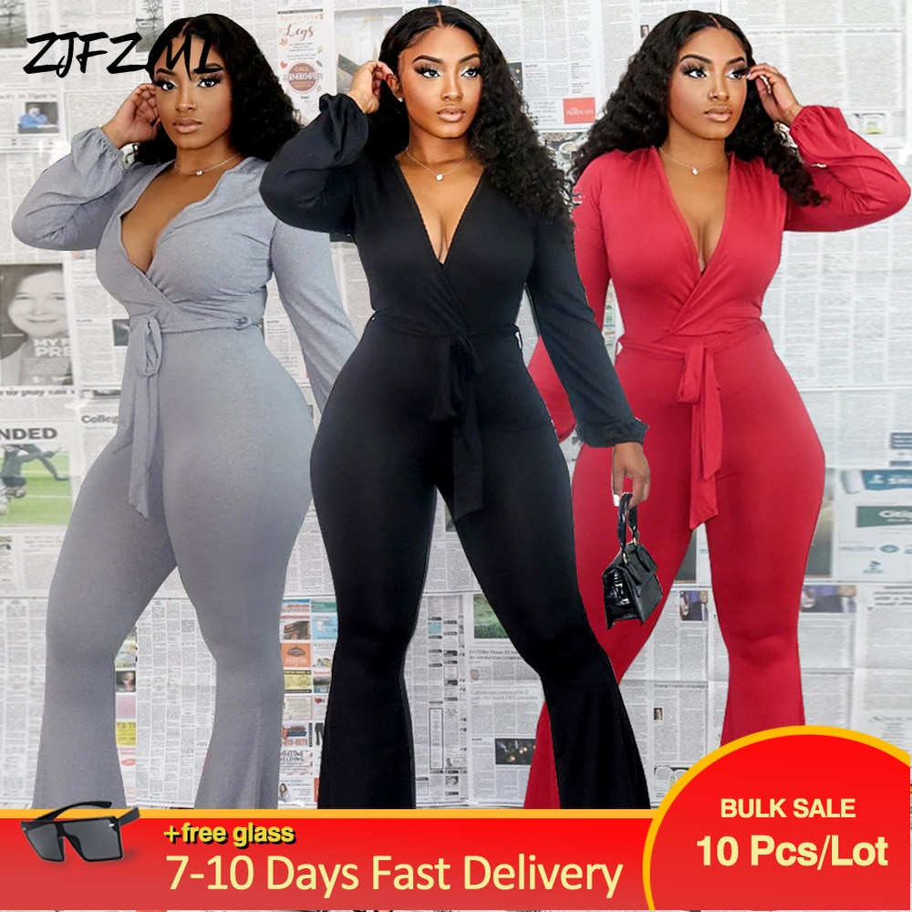 Bulk Items Wholesale Lots Women's Long Jumpsuit Classic Solid Full Sleeve One Piece Bodysuit Concise Female Bell Bottom Overall