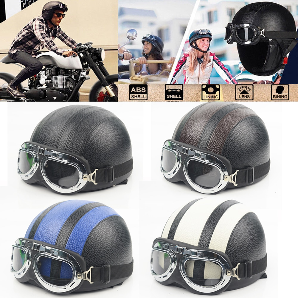 adult leather harley helmetsmask detachable goggles and mouth filter perfect vintage motorcycle helmet open face motorcycle Adult Helmets Motorcycle Retro Half Cruise Helmet Motorcycle Scooter Helmet For Harley Vintage GERMAN Motorcycle Moto