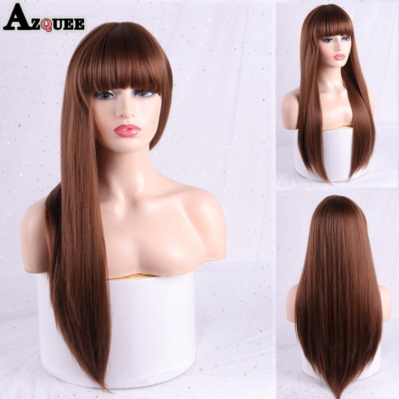 azqueen peruca sintetica longa lisa com franja loiro em camadas penteado ombre cinza